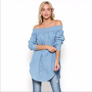 New Chambray Off Shoulder Tunic